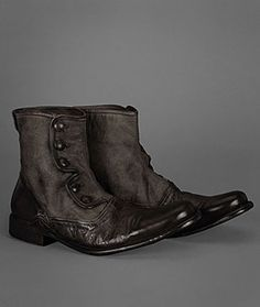 The Bowery Button Boot is constructed of fine Italian goat skin and canvas. Once constructed the entire shoe is garment dyed to achieve a vintage hand and look. The boot features a unique button closure system and a hand treated sole. Details include tonal stitching and rich burnishing on the toe, heel, and details.  Made in Italy