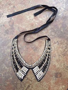Kanza Bejwelled collar bib statement necklace in black and white