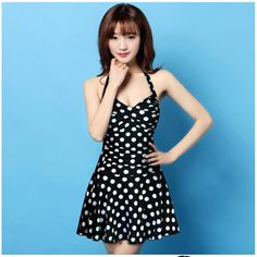 Best Quality Fashion Dot Pattern Classic Swimwear Womens One Piece Swimsuit With Skirt Beach Clothes For Women 2015 Free Ship
