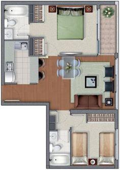 Plano de casa de 53 metros cuadrados y dos dormitorios