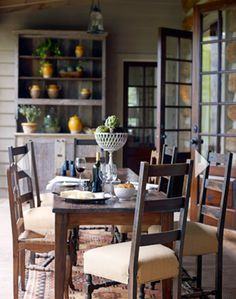 Cashiers NC porch House Beautiful via Talk of the House Chairs from Dovetail Antiques Cashiers, NC Interiors by Kathleen Rivers