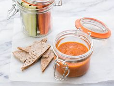 This couldn't be easier; blend together some jarred roasted red peppers, white beans, and seasonings, and you've got a healthy, travel-friendly dip in minutes. Pack with crudité, pita chips, or rice crackers to dip.