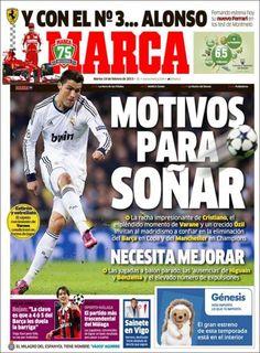 Los Titulares y Portadas de Noticias Destacadas Españolas del 19 de Febrero de 2013 del Diario Deportivo MARCA ¿Que le parecio esta Portada de este Diario Español?