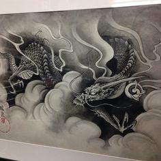 Japanese Tatoo, Japanese Dragon Tattoos, Japanese Art, Bio Organic Tattoo, Clouds Pattern, Dragon Artwork, Dragon Tattoo Designs, Dot Work, Fire Dragon
