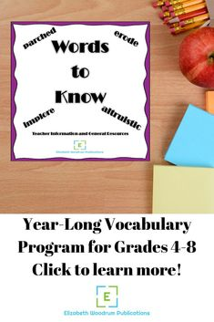 Get ready for back to school season with this year-long vocabulary program for grades 4-8. Students will use various skills as they complete vocabulary activities and practices. Students will use words in context, identify examples, and discover word origins. They will also work with parts of speech, prefixes, roots, suffixes, synonyms, and antonyms. #Vocabulary #QRCodes #BackToSchool #Context #PrefixesAndSuffixes