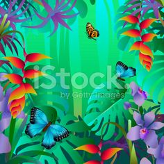 butterfies in a tropical rainforest royalty-free stock vector art