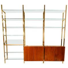 Stunning Mirrored Brass and Glass Wall Unit by Milo Baughman by rspritchard on Etsy