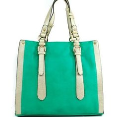 Amazon.com: Designer Inspired Unique Two Line Buckle Embellishment Handle Tote Satchel Shooper Handbag Purse with Adjustable Shoulder Strap in Mint Green and Gold: Clothing $45.99