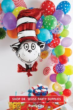 It's a Seuss Celebration! Bring the fun of reading to life with help from Dr. Seuss and Party City. Dr Seuss Birthday Party, First Birthday Parties, Birthday Party Themes, Dr Seuss Day, Dr Suess, Dr Seuss Crafts, Dr Seuss Baby Shower, Graduation Decorations, Graduation Ideas