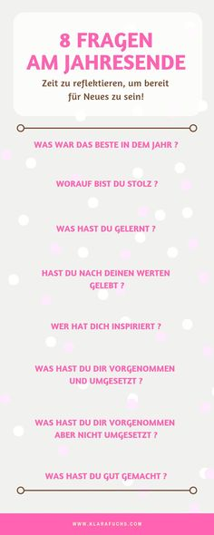 8 Fragen am Ende des Jahres. Persönlicher Jahresrückblick 8 questions at the end of the year. Mental Training, Training Fitness, Training Quotes, How Do I Get, How To Pose, How To Increase Energy, Positive Vibes, Are You Happy, Reflection