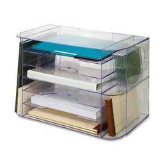 "Sparco Jumbo Desk Sorter - 12.3"" Height X 18.1"" Width X 10"" Depth - 2 Pocket[s] - Clear (SPR86880) - Walmart.com"