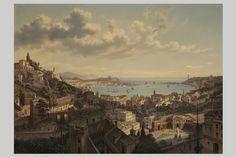 """Hubert Sattler, dipinto del XIX secolo raffigurante """"Porto Vecchio di Genova"""""""