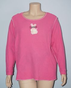 Quacker Factory 2x Pink Easter Bunny Rabbit Long Sleeve Thermal Knit Top Shirt #QuackerFactory #KnitTop