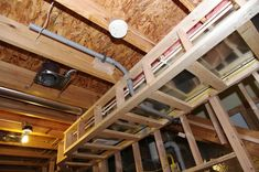 """Basement Soffits & drops are easy to build using and ½"""" OSB plywood. Not much to how to build them as you rip the plywood to the desired height. Home Theater Basement, Basement Bar Designs, Basement House, Home Theater Rooms, Basement Ideas, Basement Bars, Cheap Basement Remodel, Basement Makeover, Basement Renovations"""