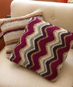 Free Crochet Pattern: Contempo Striped Pillow by SAburns