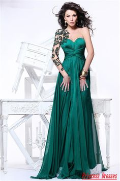 emerald green dresses for women $24 | Dresses For Women Long One Sleeve Strapless Sexy Appliques Emerald ...