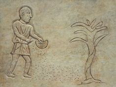 Early Christian funerary art from the Roman catacombs depicting a planting scene…