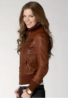 Fossil womens leather jacket. This one might be my favorite. Like the collar and cuffs actually. Looks cozy for a warm day.