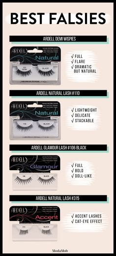 False Lashes 101: Your Guide to Picking the Perfect Pair | Ardell Demi Wispies, Ardell Natural Lash #110, Ardell Glamour Lash #106, Ardell Natural Accent Lash #315