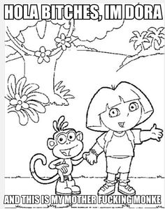 Dora The Explorer Riding A Horse With Boots Coloring Pages