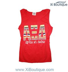 The Xi Boutique Red Unisex Tribal Tank is perfect for any Alpha Xi Delta that wants to enter spring in style!