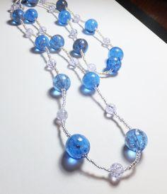 Blue Glittery Globe Glass Beadwork Endless Necklace