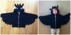 """Check out my brave Dragon! My 3 year old son is in LOVE with How to Train Your Dragons, and since the costume for Toothless not only is not in his size, and is OUTRAGEOUS, I decided to make one!  This was simple, a black jacket, stretchy fabric with excess for the wings,(dont be fooled with others offering felt wings, they will rip) and felt for the eyes and """"ears."""" My son refuses to take it off, and I could not be happier! #Dragons #Toothless #costume"""