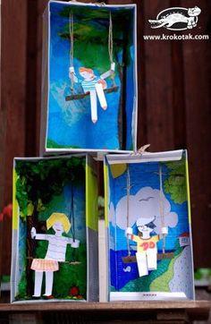 Kunst Grundschule - Swing from an empty shoe box . on Krokotak. Projects For Kids, Art Projects, Crafts For Kids, Kids Diy, Classe D'art, Crafty Kids, Art Classroom, Summer Crafts, Art Plastique