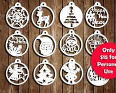 Modelli di Natale Papercut Set di 12 decorazione di Natale