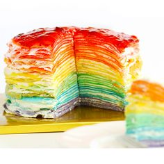 How to Make 30-Layer Rainbow Mille Crepe Cake -- Eugenie Kitchen