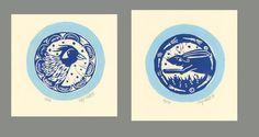 2 very cute little linocuts, to be framed and hung together in your home, making you smile every time you notice them!  a hand printed ,hand inked linocut, I cut the lino, ink it up and put it through my etching press, for every print the lino plates have to be inked again.  As I choose different papers to print on, and print the lino in sometimes different colors, no print will ever be exactly like the next, I will vary colors etc through the edition, so an edition of 50, is there to give…