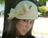 Winter White 1920's Flapper Style Cloche Hat With Large Bow Bridal Hat