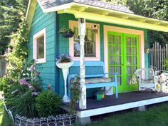 make your storage or garden shed be the focal point of your yard! monkeyface blue garden shed Cabins And Cottages, Beach Cottages, Style Cottage, Cottage Chic, Yellow Cottage, Cottage Ideas, Unique Garden, Colorful Garden, Outdoor Rooms