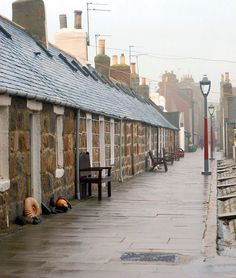 Footdee - or Fittie - a mid 19th century former fishing community. The cottages all face inwards with their backs to the ocean to protect them from the fierce storms.