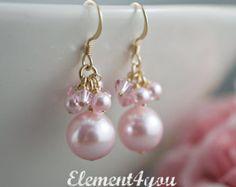 Bruids oorbellen. Lang parel clusters oorbellen van door Element4you