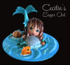 Mermaid Cake Topper - by Cecilia @ CakesDecor.com - cake decorating website