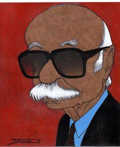 """ERNESTO SABATO CARICATURA DE WALTER TOSCANO (PERÚ)Caricaturista, ilustrador, `historietista, performer y poeta peruano. Dirige Piel de Camaleón Editores, ha publicado las revistas """"Piel de Kamaleón"""" (Literatura) y """"PerroKalato"""" (arte gráfico internacional)."""