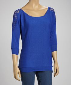 Take a look at this Royal Blue Lace-Shoulder Sweater on zulily today!