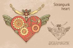 Check out Steampunk heart by piyacler on Creative Market