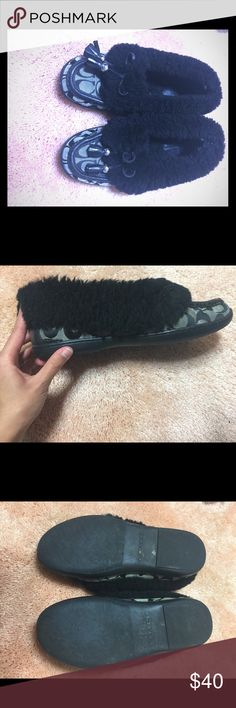 Furry Coach Slippers! Purchased, worn a few times and then put in storage. Black faux fur. Cozy and cute. Coach logos. Coach Shoes Moccasins