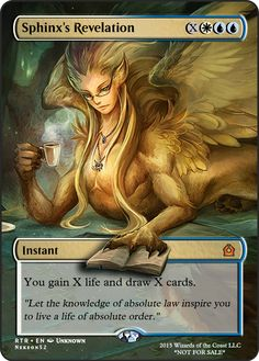 Sphinx's Revelation If you have any suggestions for a card you would like to see let me know. Game Card Design, Mtg Altered Art, Fun Card Games, Mtg Art, Magic The Gathering Cards, Alternative Art, Magic Cards, Art Cards, Custom Cards
