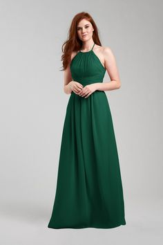 Diana Bridesmaid Dress in Emerald Green in Chiffon