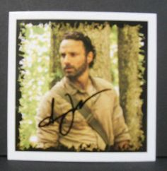 """ANDREW LINCOLN (RICK GRIMES) - SIGNED ±3""""x3"""" """"WALKING DEAD"""" PROMO CARD w/COA A3"""