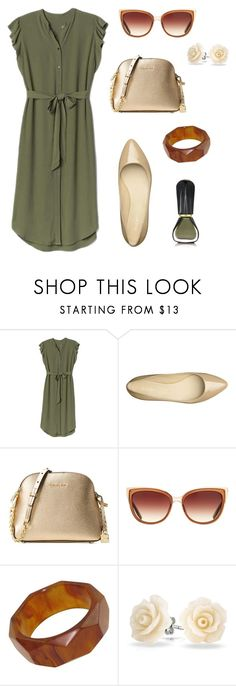 """Olive green dress with flats"" by shineapple on Polyvore featuring Gap, Nine West, Michael Kors, Barton Perreira, Bling Jewelry and Oribe"