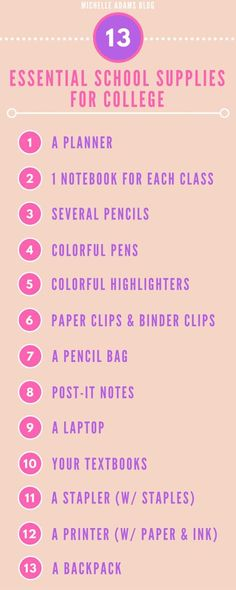 This is the most awesome school supplies list for college! i will have to use it and other lists to buy my things for my college school supplies! College Packing, College Essentials, College Survival, University Essentials, College Necessities, Room Essentials, School Bag Essentials, College Checklist, University University