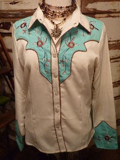 Turquoise and Rust Pearl Snap Shirt by Scully