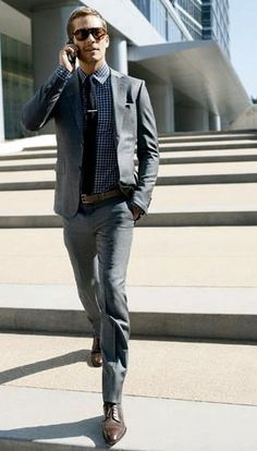 Simplified Gingham with Gray Suit  #men // #fashion // #mensfashion