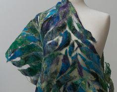 Sale Off Nuno felted scarf White silk chiffon and Wool Silk Chiffon Fabric, Chiffon Scarf, Nuno Felt Scarf, Felted Scarf, Nuno Felting, White Silk, Yarn Colors, Flower Patterns, Tie Dye Skirt
