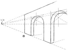 Drawing Arches of Bridge in Perspective