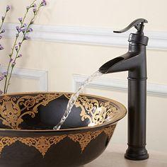 FLG Waterfall Spout Oil Rubbed Bronze Single Handle Bathroom Sink Vessel Faucet Basin Mixer Tap